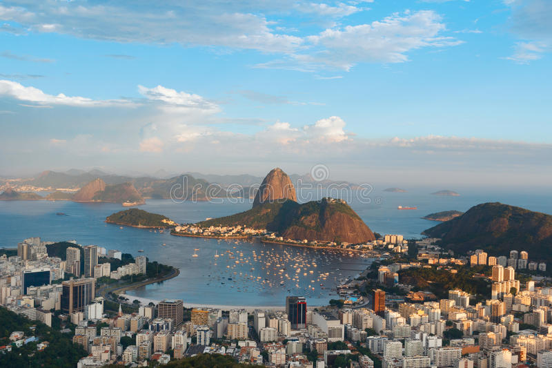 Mountain Sugarloaf , Rio de Janeiro, Brazil. Mountain Sugarloaf and Guanabara bay from viewpoint dona Marta, before sunset, Rio de Janeiro, Brazil stock images