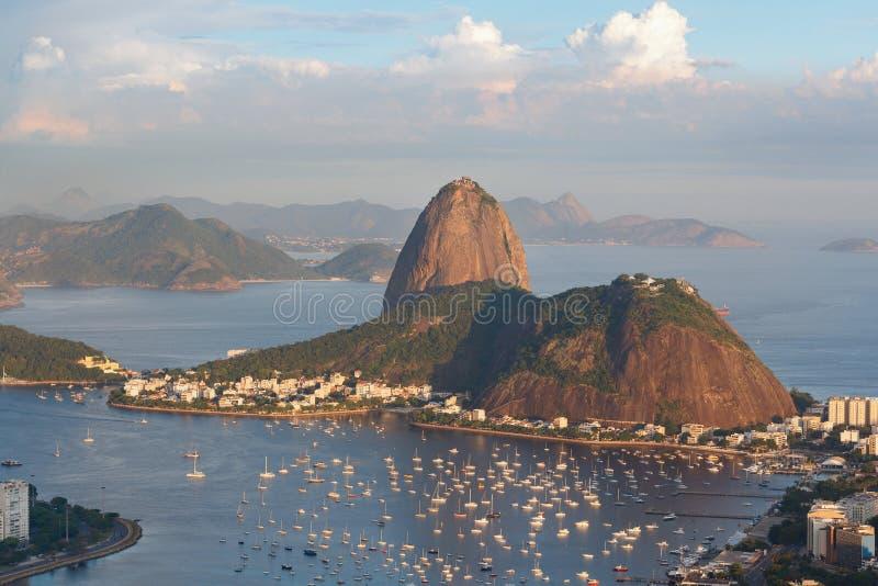 Mountain Sugarloaf, Rio de Janeiro, Brazil. Mountain Sugarloaf and Guanabara bay from viewpoint dona Marta, before sunset, Rio de Janeiro, Brazil. Selective stock image