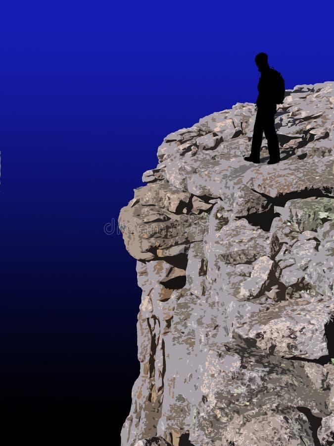 Mountain summit. Silhouetted figure on a mountain summit stock illustration