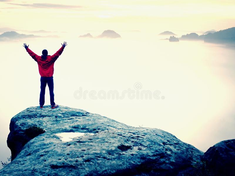 Mountain summit. Happy man gesture raised arms. Funny hiker with raised hands in the air. On rock edge in national park. Vivid and strong effect stock images