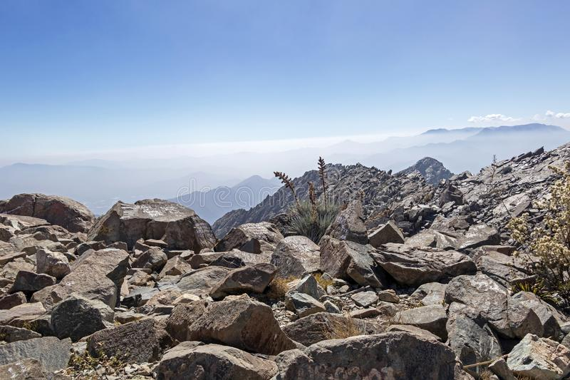 Mountain summit view with landscape of Andes and Aconcagua on clear day in La Campana National park in central Chile, South royalty free stock image