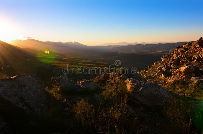 Mountain sun stock photo