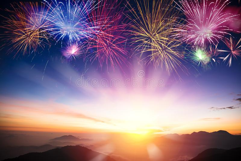 Mountain with sunrise and fireworks royalty free stock images
