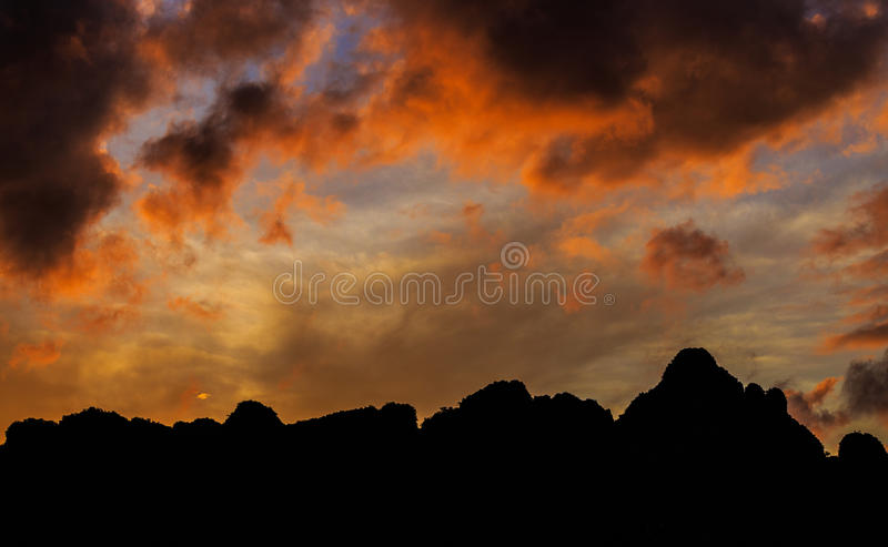 Mountain at sunrise royalty free stock photography