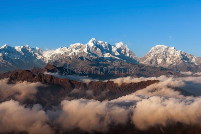 Mountain sunrise landscape in Himalayas, Nepal. stock image