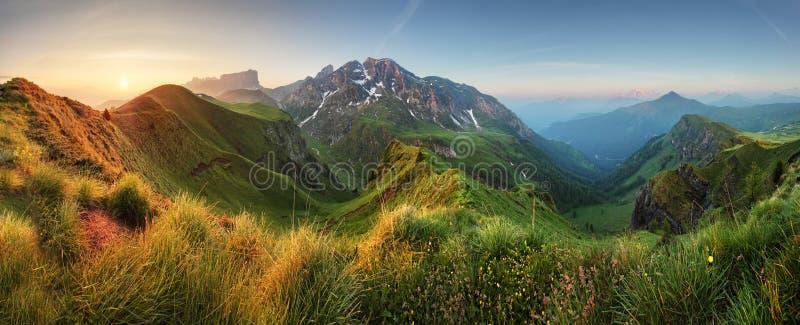 Mountain sunrise panorama in Dolomites, Passo Giau stock photography