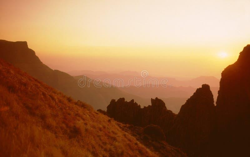 Mountain sunset. Mountain sunrise sunset with view of horizon stock photos