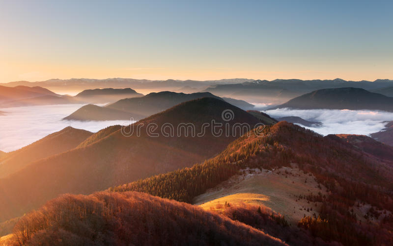 Mountain sunset autumn landscape in Slovakia.  stock image