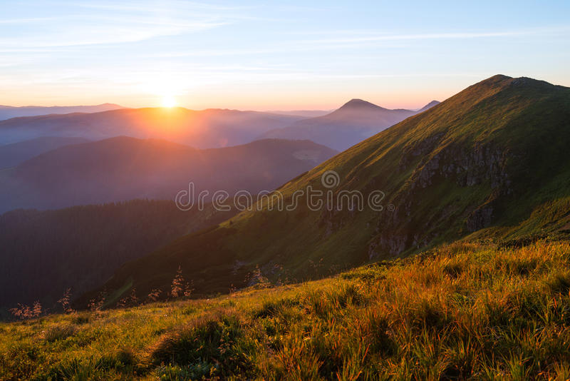 Mountain Sunset in the Carpathians stock photography