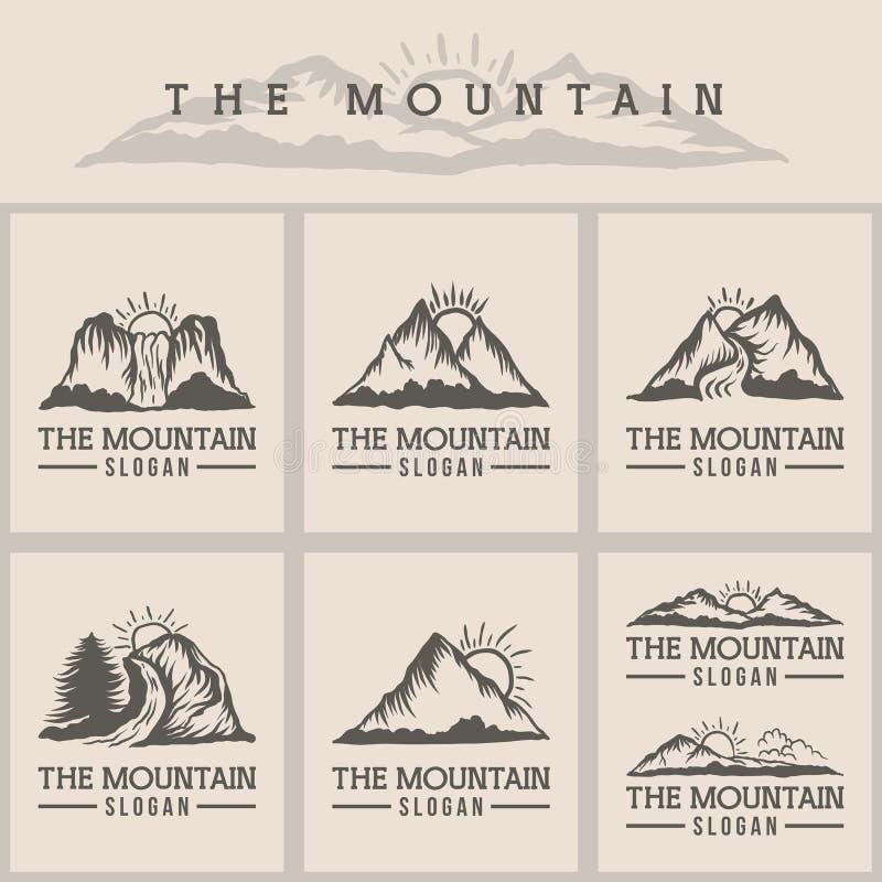 Mountain sunset logo vector illustration stock illustration