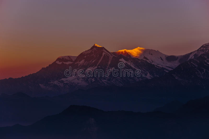 Mountain sunset in Nepal Himalayas stock photos
