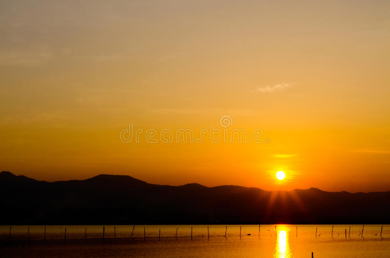 Mountain On Sunset Time, Dusk, Dawn On The Lake Royalty Free Stock Photography