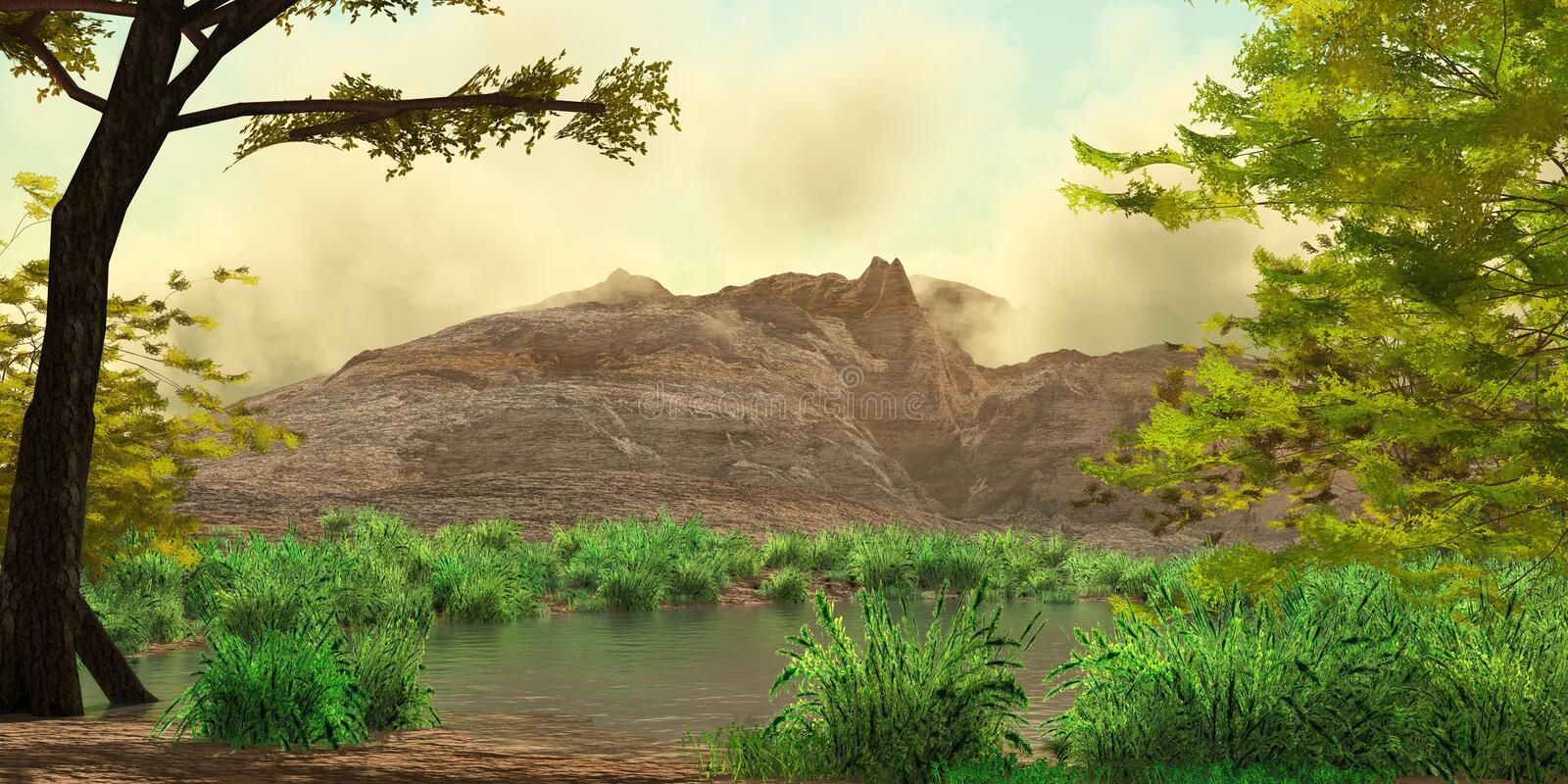 Mountain Landscape with River royalty free illustration