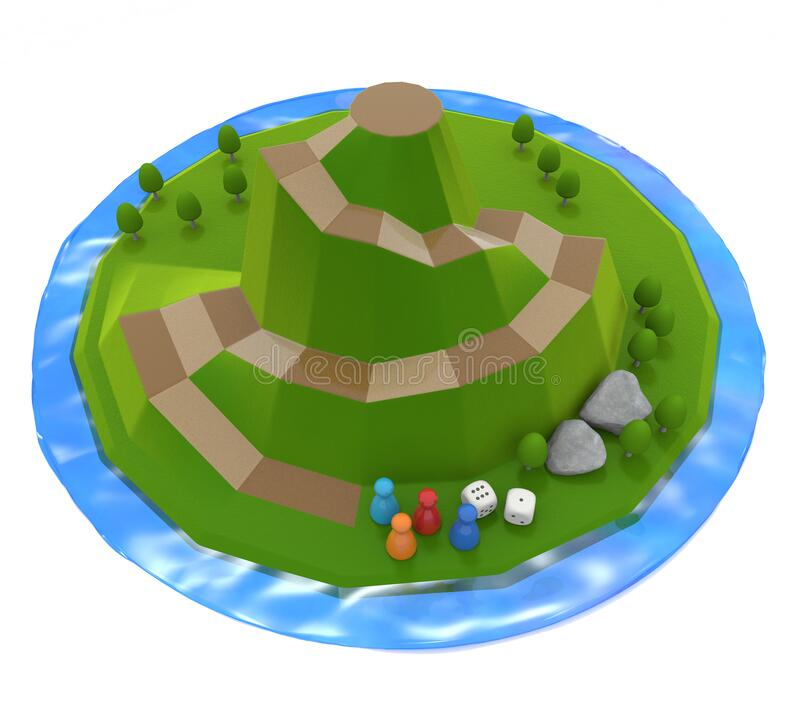 Mountain surrounded by lake. A three-dimensional board game. Nature image. 3D illustration vector illustration