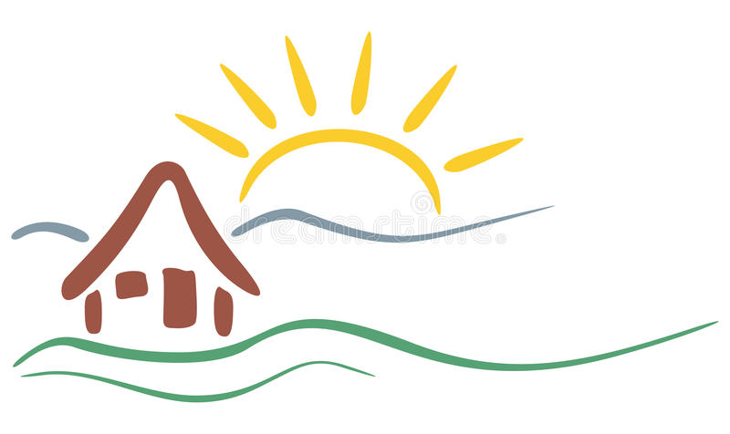 Mountain symbol. Symbol of house and mountains with sun in background vector illustration