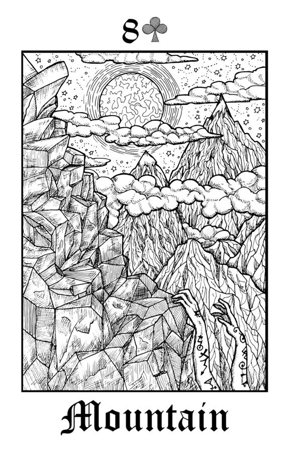 Free Mountain. Tarot Card From Vector Lenormand Gothic Mysteries Oracle Deck Stock Images - 154774484