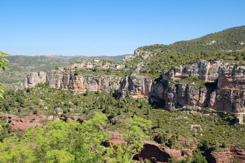 A mountain terrain of Siurana in Priorat, Spain. Siurana is a village of the municipality of the Cornudella de Montsant in the comarca of Priorat, Tarragona stock photo