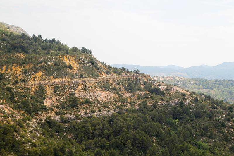 A mountain terrain of Siurana in Priorat, Spain. Siurana is a village of the municipality of the Cornudella de Montsant in the comarca of Priorat, Tarragona stock photos