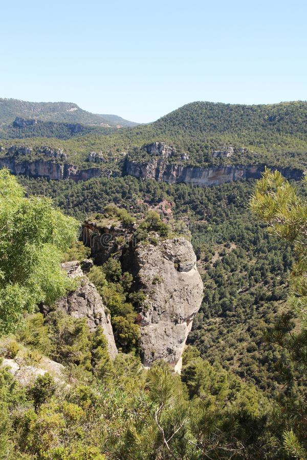 A mountain terrain of Siurana in Priorat, Spain. Siurana is a village of the municipality of the Cornudella de Montsant in the comarca of Priorat, Tarragona royalty free stock photography