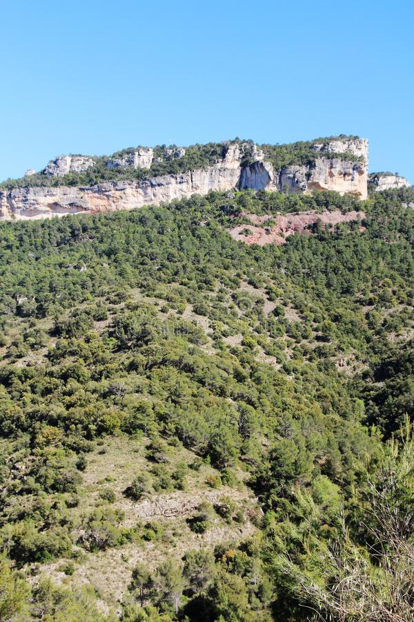 A mountain terrain of Siurana in Priorat, Spain. Siurana is a village of the municipality of the Cornudella de Montsant in the comarca of Priorat, Tarragona royalty free stock photos