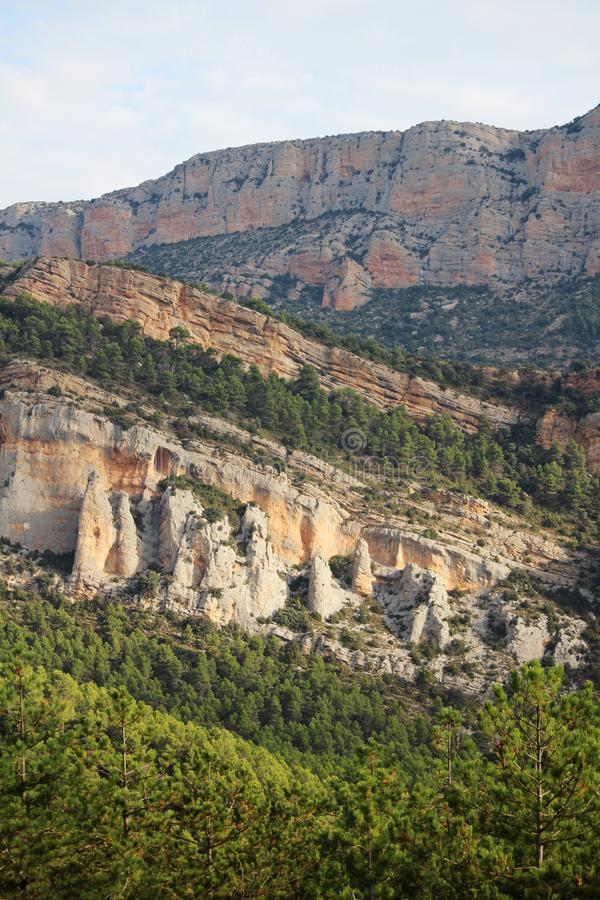 A mountain terrain of Siurana in Priorat, Spain. Siurana is a village of the municipality of the Cornudella de Montsant in the comarca of Priorat, Tarragona stock photography