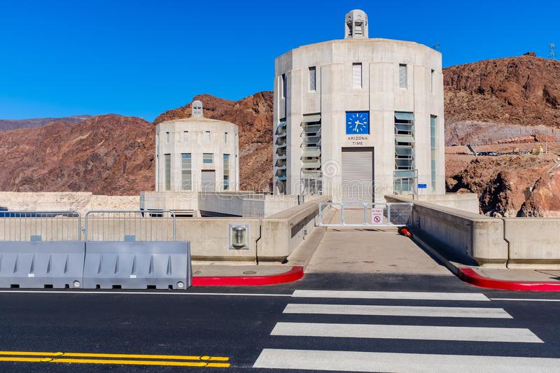 Mountain time zone sign at Hoover Dam stock photography