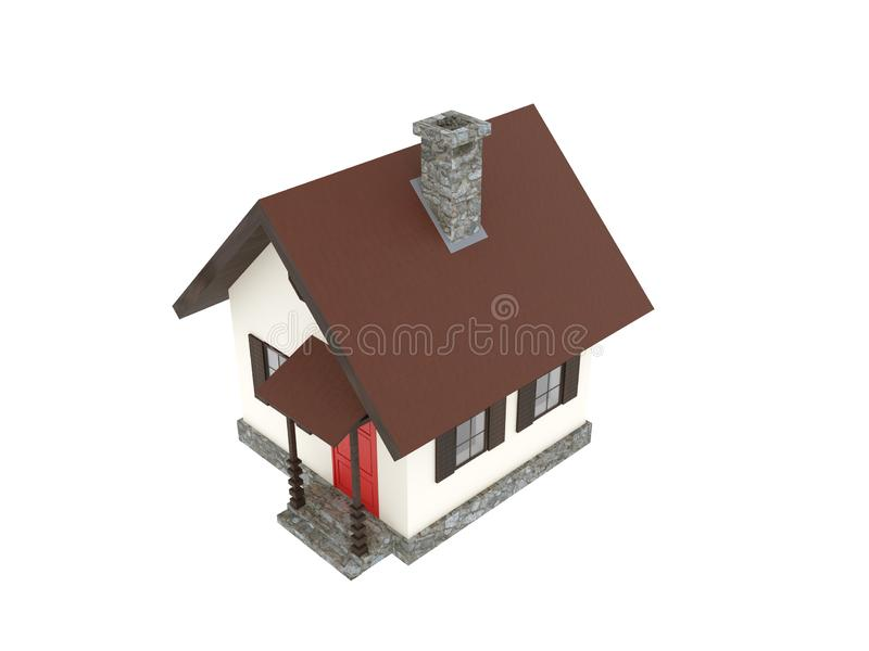 Mountain tiny house cabin bird eye view royalty free illustration
