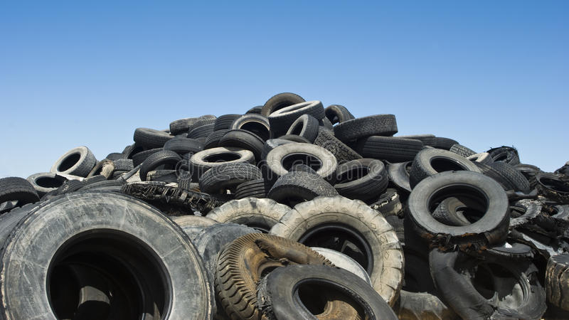 Mountain of tires stock image