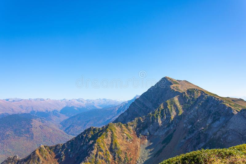 Mountain top in the distance panorama of mountain landscape in fine clear weather stock photo