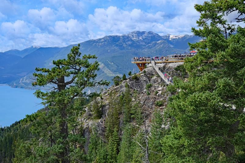 Mountain top viewing platform in British Columbia royalty free stock images