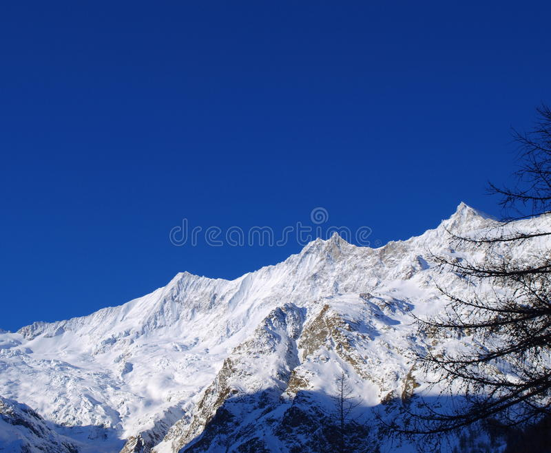 Mountain tops in Saas Fee royalty free stock images