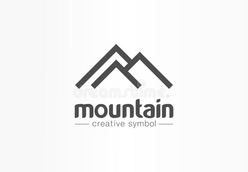 Mountain, tourism, travel creative symbol concept. Nature, hiking camp abstract business logo idea. Hill top, landscape. Rock icon. Corporate identity logotype vector illustration