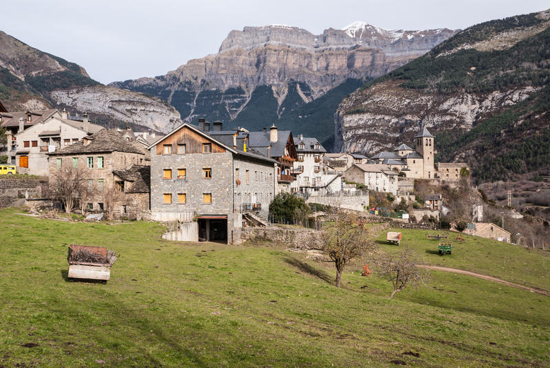 Mountain Town, Torla, Pyrenees, Ordesa y Monte Perdido National. Park, Spain stock image