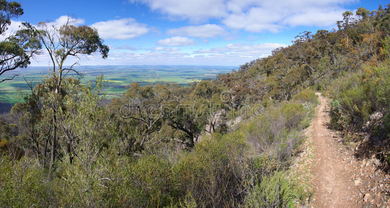 Mountain Trail. A panorama of the view overlooking Melrose from the mountain trail on Mt Remarkable, Flinders Ranges, South Australia royalty free stock images