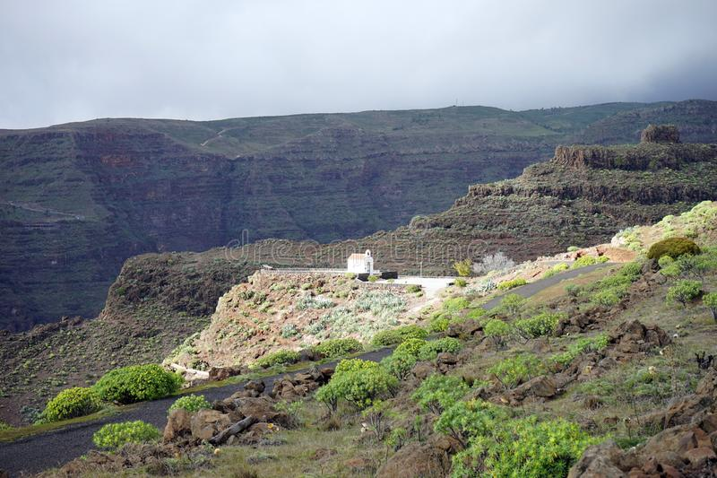 Mountain trail. And church on the La Gomera island, Spain royalty free stock photo