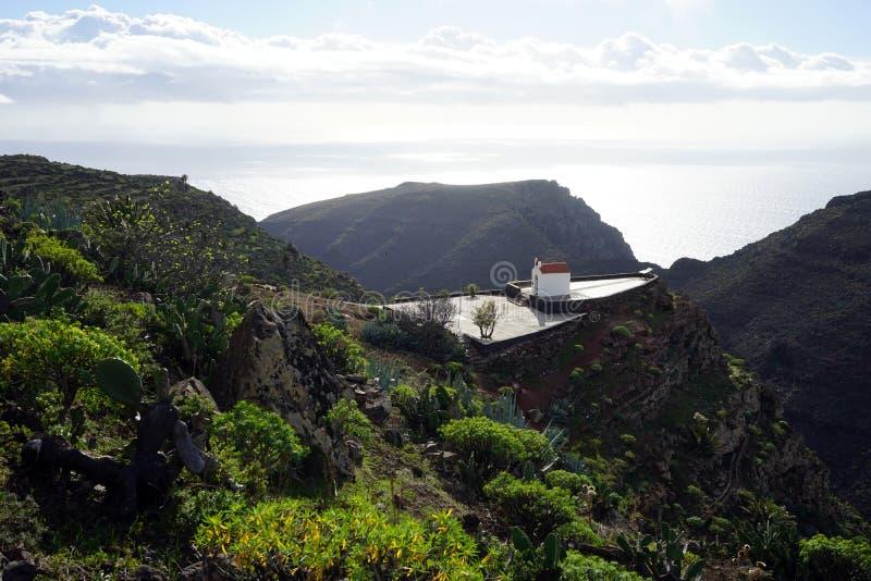 Mountain trail and church. On the La Gomera island, Spain stock photos