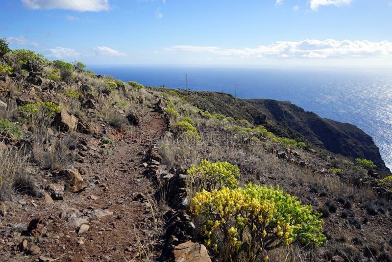 Mountain trail. On the La Gomera island, Spain royalty free stock photo