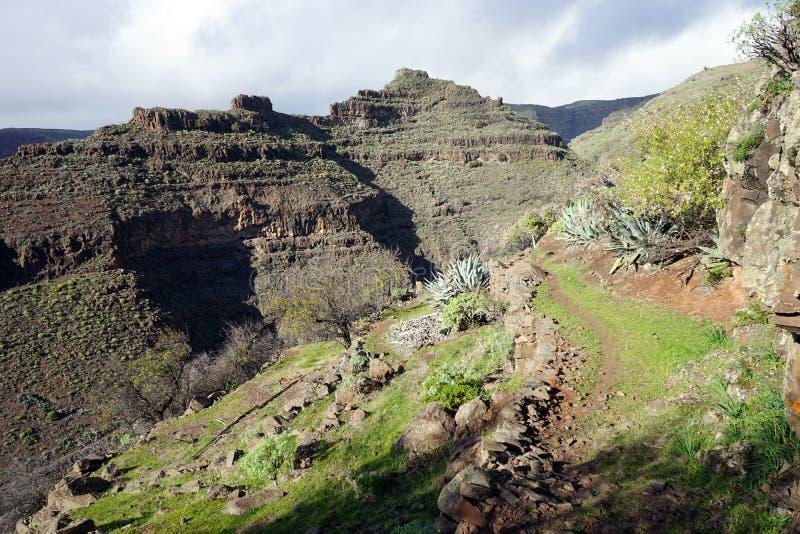 Mountain trail. On the La Gomera island, Spain stock photo