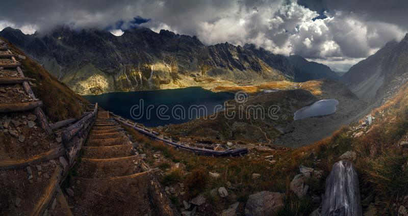 Stairway to Heaven , mountain trail. Mountain trail on the top of muntain , lakes royalty free stock images