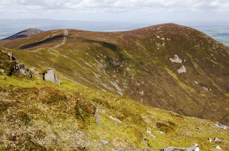 Mountain trail with a view to Knockshane Mountain royalty free stock photography