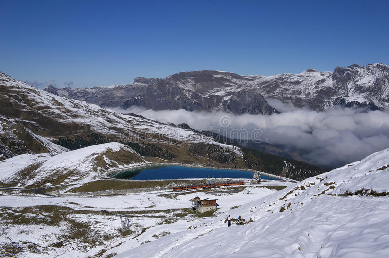 Mountain train in Jungfrau region (Switzerland) royalty free stock photo