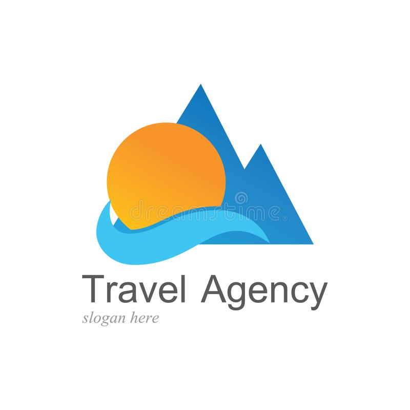 Mountain travel beach logo vector illustration