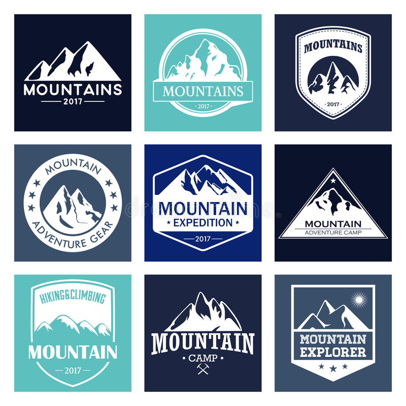 Mountain travel, outdoor adventures logo set. Hiking and climbing labels or icons for tourism organizations, events stock illustration