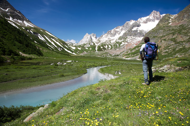 Download Mountain trekker stock photo. Image of back, scenic, mountain - 5667236