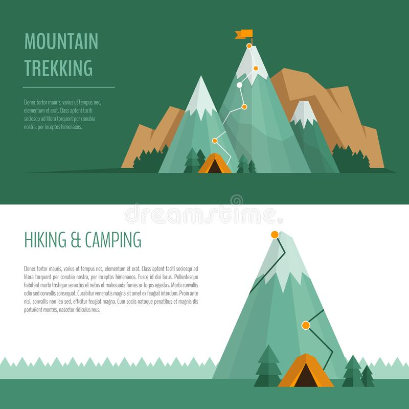 Mountain trekking, hiking, climbing and camping concept. Hiking. Trail concept, infographics vector illustration