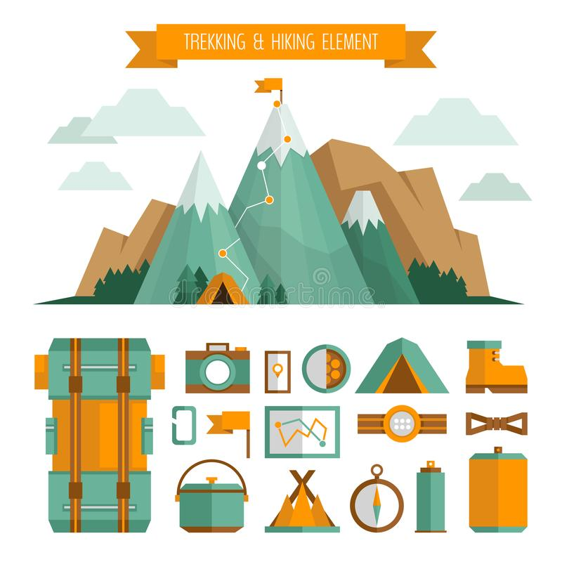Mountain trekking, hiking, climbing and camping equipment. Object set. Hiking trail concept, flat style. royalty free stock photos