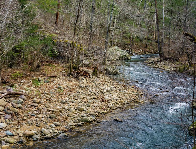 Mountain Trout Stream in the Blue Ridge Mountains. Jennings Creek is a popular wild mountain trout stream located in the Blue Ridge Mountains, Botetourt County royalty free stock photography