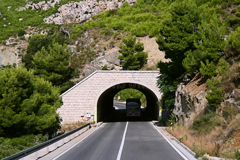 Mountain tunnel is in of Croatia stock photography