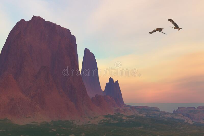 Mountain with Bald Eagles stock photography