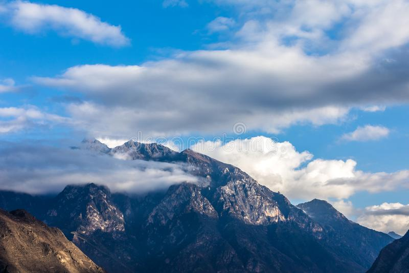 Mountain under blue sky in China stock photography